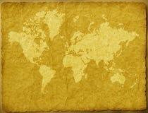 Mapa de mundo no papel envelhecido ilustração stock