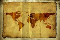 Mapa de mundo no pergaminho Foto de Stock Royalty Free