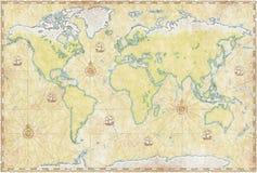 Mapa de mundo no pergaminho Fotos de Stock Royalty Free