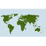 Mapa de mundo no vetor com estados Fotografia de Stock