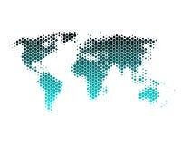 Mapa de mundo nos hexágonos Imagens de Stock Royalty Free