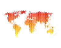 Mapa de mundo nos hexágonos Fotografia de Stock Royalty Free