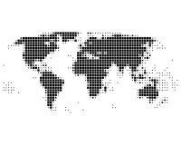 Mapa de mundo nos quadrados Fotografia de Stock Royalty Free