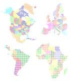 Mapa de mundo pixelated Imagens de Stock Royalty Free
