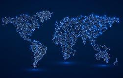 Mapa de mundo Placa de circuito Foto de Stock Royalty Free