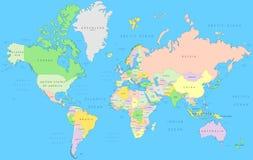Mapa de mundo político ilustração stock