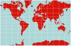 Mapa de mundo - projeção de Mercator Ilustração Stock