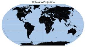 Mapa de mundo (projeção de Robinson) foto de stock