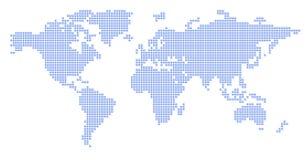 Mapa de mundo: quadrado azul - enigma ilustração royalty free