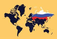 Mapa de mundo que mostra a Federação Russa Imagens de Stock Royalty Free