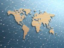 Mapa de mundo simples futurista ilustração stock