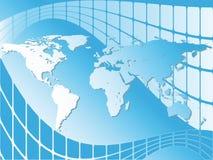 Mapa de mundo sobre telas azuis Ilustração Royalty Free