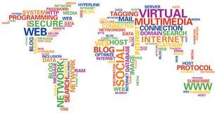Mapa de mundo social da rede Fotos de Stock Royalty Free