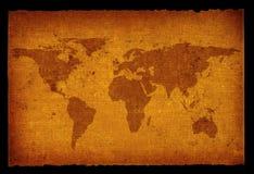 Mapa de mundo sujo velho Fotografia de Stock