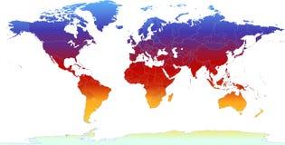 Mapa de mundo térmico Imagens de Stock