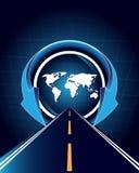 Mapa de mundo uma estrada Imagens de Stock