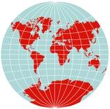Mapa de mundo - Van der Grinten Projeção Ilustração do Vetor