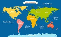 Mapa de mundo Vector a ilustração com a inscrição dos oceanos e dos continentes Fotografia de Stock