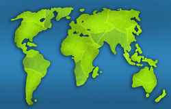 Mapa de mundo verde Imagens de Stock Royalty Free