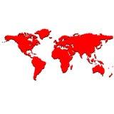 Mapa de mundo vermelho Fotos de Stock