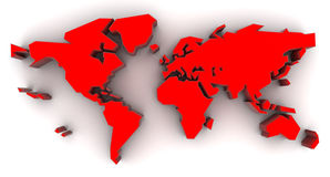 Mapa de mundo vermelho Fotos de Stock Royalty Free