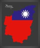 Mapa de Nantou Taiwan com ilustração taiwanesa da bandeira nacional Foto de Stock Royalty Free