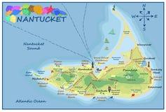 Mapa de Nantucket Foto de archivo libre de regalías