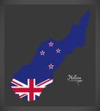 Mapa de Nelson New Zealand com bandeira nacional ilustração royalty free