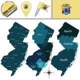Mapa de New-jersey com regiões Fotografia de Stock