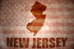 Mapa de New Jersey del vintage imágenes de archivo libres de regalías