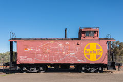 Mapa de New mexico e do Arizona em Santa Fe Train Caboose Foto de Stock Royalty Free
