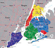 Mapa de New York City Imagenes de archivo