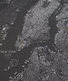 Mapa de New York City, vista satélite, mapa no negativo Imagem de Stock