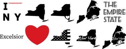 Mapa de New York E.U. e o s?mbolo do cora??o ilustração royalty free