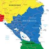 Mapa de Nicarágua Ilustração Stock
