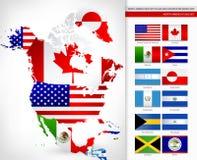 Mapa de Norteamérica con las banderas Fotos de archivo