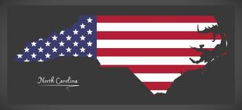 Mapa de North Carolina com ilustração americana da bandeira nacional Imagem de Stock