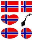 Mapa de Noruega e bandeira - estado soberano unitário em Europa do noroeste ilustração royalty free