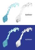 Mapa de Noruega en estilo poligonal geométrico Triángulo abstracto de las gemas Imágenes de archivo libres de regalías
