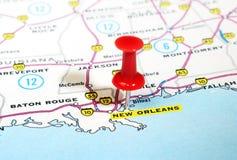 Mapa de Nova Orleães EUA Fotos de Stock Royalty Free