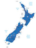 Mapa de Nova Zelândia Ilustração Royalty Free