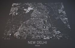 Mapa de Nueva Deli, la India, visión por satélite, Foto de archivo