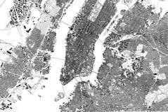 Mapa de Nueva York, visión por satélite, Estados Unidos, vecindades con las calles y el edificio