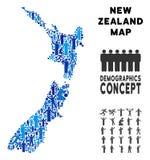 Mapa de Nueva Zelanda del Demographics stock de ilustración