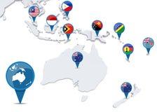 Mapa de Oceanía con las banderas nacionales Imagen de archivo libre de regalías