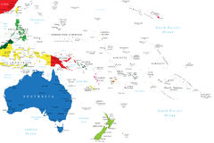 Mapa de Oceania Fotos de Stock Royalty Free