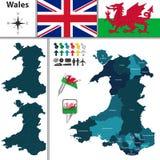 Mapa de País de Gales con Areas principal libre illustration