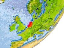 Mapa de Países Baixos na terra Foto de Stock Royalty Free