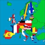Mapa de países membros da UE Foto de Stock Royalty Free