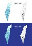 Mapa de Palestina en estilo poligonal geométrico Triángulo abstracto de las gemas Imagenes de archivo